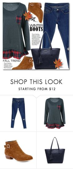 """Fall Trend: Winter boots"" by svijetlana ❤ liked on Polyvore featuring Too Faced Cosmetics, plaid, polyvoreeditorial, winterboots and twinkledeals"