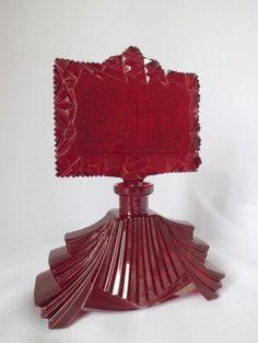 Bohemian RER Color Glass Czech Perfume Bottle Design 1930s.