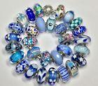 30  Pandora 925 ale silver beads charm glass murano blue and teal CHRISTMAS gift