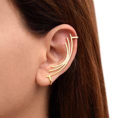 Earcuff, non pierced ear cuff earring, no piercing ear cuff, hypoallergenic gold ear cuff, gold ear crawler, gold ear climber earring