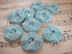 Art Deco Buttons Baby Blue 2cm across Set of by lovevintagecrafts, £1.25