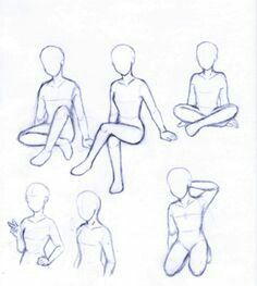 Body positions, sitting, kneeling, cross legged, peace sign; How to Draw Manga/Anime