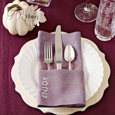 Stamped Napkins and Pumpkin Place Cards