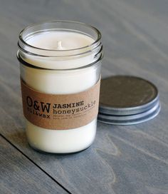 Jasmine Honeysuckle, Soy Candle in Reusable Glass Jar, Eco-friendly