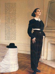 US Vogue August 1987 Another World of Style: Rei Kawakubo Photo Deborah Turbeville Model Monica Bellucci