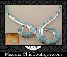 Taxco Jewelry ♥ Bold Necklace ♥ Mexican Sterling Silver ♥ Vintage Necklace ♥ TAXCO MEXICAN 950 SILVER LARIMAR NECKLACE MEXICO $89.95