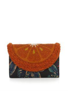 Sarah's Bag Beaded-orange and satin clutch