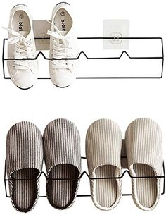 Esdella Shoes Rack Organizer Mounted Wall Storage Shelf Shoe Holder Keeps Any Shoes Off The Floor (Iron-Set of Black) Wall Mounted Shoe Storage, Shoe Storage Small, Wall Storage Shelves, Shoe Storage Solutions, Rack Shelf, How To Store Scarves, Shoe Rack Organization, Do It Yourself Organization, Shoe Holders