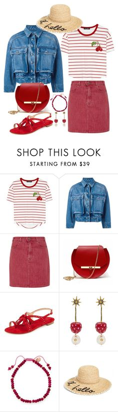 """Cherry Red and Denim"" by onesweetthing ❤ liked on Polyvore featuring Dolce&Gabbana, Frame, Angela Valentine Handbags, Stuart Weitzman, Gucci, Lola Rose and Kate Spade"