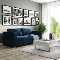 Buy Clara Navy Blue Velvet 3 Seater Sofa from - the UK's leading online furniture and bed store Blue Velvet Sofa Living Room, Blue Living Room Decor, Blue Couches, Living Room Interior, Home Living Room, Apartment Living, Living Room Designs, Living Room Furniture, Navy Blue Sofa