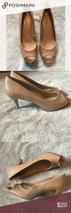 """Nude Open Toe Ellen Tracy Heels A pair of tan Ellen Tracy heels that would be great for work! In GUC besides the one black scuff and dent on the left heel (pictured). Heels are about 4"""" tall. Ellen Tracy Shoes Heels"""