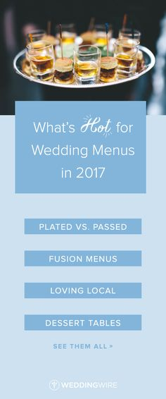 What's Hot for Wedding Menus in 2017 - From serving local to tapas-style cocktail hours, see all the hottest wedding food trends for 2017 on @weddingwire! {Naturally Delicious}