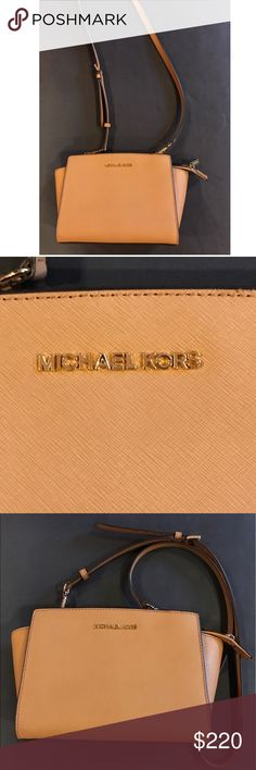 """Michael Kors Selma Saffiano Leather Medium Bag Get a handle on timeless style with our treasured Selma Saffiano leather satchel. Offering up a smart, structured shape and subtle logo detailing, it strikes a high-fashion chord, while promising a smart sensibility season after season. 100% Saffiano Leather  • Gold-Tone Hardware  • 13""""W X 8""""H X 4""""D  • Handle Drop: 4.5""""  • Adjustable Strap: 17.5""""-19.5""""  • Interior Details: Zip Pocket, 2 Open Pockets  • Lining: 100% Polyester  • Top-Zip Fastening…"""