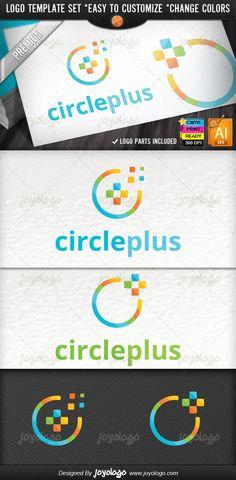 Abstract Circle Pixel Social Media Plus Logo Design Template