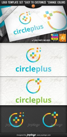Abstract Circle Pixel Social Media Plus Logo Design Template