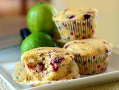 Raspberry Lime Cornmeal Muffins