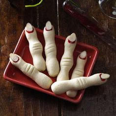 Frightening Fingers Recipe from Taste of Home -- shared by Natalie Hyde of Cambridge, Ontario  #Halloween