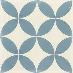 Salle de bain  Carreau de ciment sol et mur bleu et blanc Palmette l.20 x L.20 cm