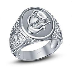 925 Silver 14k White Gold Finish Simulated Diamond Capricorn Zodiac Men's Ring…