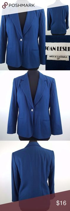 """Joan Leslie Blue Wool Blend Lined Blazer 12 Petite This Joan Leslie brand blazer jacket is a women's size 12P. See measurements for your best fit.  Perfect for career wear or dress it down with jeans! 1 button blazer, fully lined, 70% Wool, 30% Nylon CONDITION: Gently used, no flaws!  MEASUREMENTS: all taken with garment laid flat  shoulder to shoulder across back: 17"""" length from back top of collar to bottom hem:  26.5"""" chest from armpit to armpit: 20x2=40"""" arm length from shoulder seam to…"""