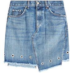 Rag & Bone Denim Skirt (3,010 MXN) ❤ liked on Polyvore featuring skirts, blue, asymmetrical hem skirt, blue skirt, studded skirt, eyelet skirt and blue denim skirt