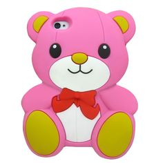PINK TEDDY BEAR DOLL RIBBON SILICONE SOFT CASE COVER SKIN APPLE IPHONE 4 4G 4S