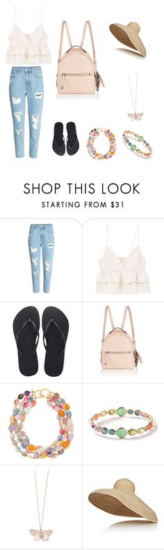 """""""Summer at the beach"""" by natsof7 ❤ liked on Polyvore featuring MANGO, Havaianas, Fendi, Kenneth Jay Lane, Ippolita, Alex Monroe and Lola"""