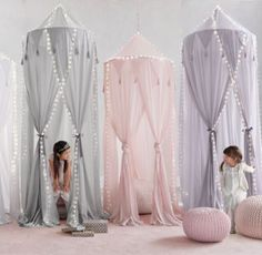 RH Baby & Child's Cotton Voile Play Canopy - Grey:A little imagination goes a lot further when it's accompanied by our hanging canopy, which transforms any nook into an enchanted enclosure just perfect for play.