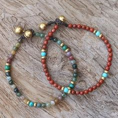 Multi-gemstone beaded bracelets, 'Magical Colors' (pair) - Two Jasper and Serpentine Multi-Gem Beaded Bracelets