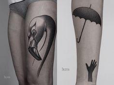 Drôles Poétiques Et Surréalistes Ces Tatouages Sortent Des - Surreal black ink tattoos by ilya brezinski
