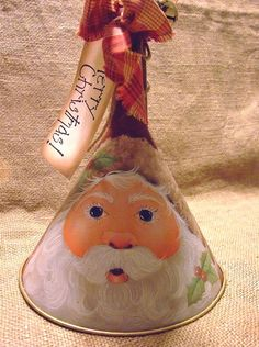 Items similar to Hand Painted Santa Repurposed Tin Funnel with Gold Accents JMP… Noel Christmas, Christmas Projects, Winter Christmas, All Things Christmas, Christmas Ornaments, Xmas, Santa Crafts, Holiday Crafts, Tole Painting
