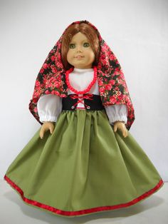 "Fits 18"" American Girl doll Italy Italian folk dress clothes S COSTUME ONLY"