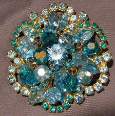 Vintage Juliana Inspired Blue On Blue Dangle Pin Brooch #5947 Gift Box Free Ship
