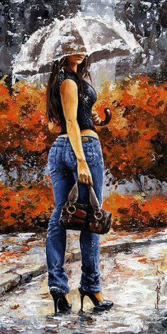 Rainy Day - Woman Of New York 14 Painting- Emerico Imre Toth
