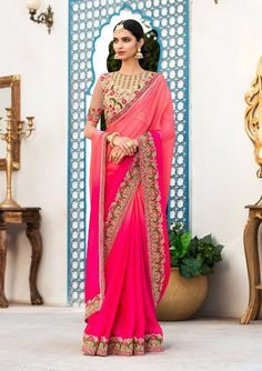 Rani pink and coral pink saree with blouse. Work - Embroidered patch border on saree with embroidery and stones on blouse. Paired with the matching blouse piece.Please Note: The shades may vary sl Party Wear Sarees Online, Party Sarees, Peach Color Saree, Pink Saree, Designer Sarees Collection, Saree Collection, Chiffon Saree, Georgette Sarees, Saree Wearing