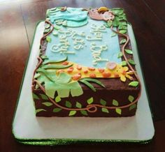 Jungle theme baby shower sheet cake