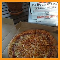 Cheese Pizza from Denver Pizza Company.  Best pizza in Denver!
