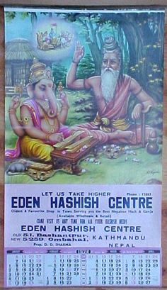Actual poster, Eden Hashish Centre ... different from the one that's going around (which is an altered version from AllPosters ... who, among other things, corrected the English, LOL!) The address here in Kathmandu is on what's still known as Freak Street.