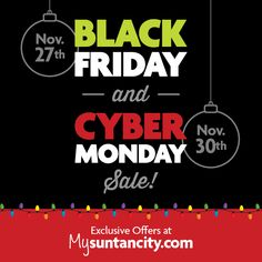 Black Friday deals available Friday 27-29 in salon.  Cyber Monday deals available ONLY available at MySunTanCity.com so activate your account today to buy on Monday! #blackfriday #cybermonday