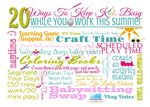 Get this FREE Printable on CWAHM.com! 20 Ways To Keep Kids Busy While You Work This Summer