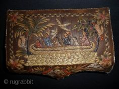SOLD An exceptional Huron birch bark casket c.1820. charming scenes from American Indian life depicting a family in a canoe, a couple embracing, pipe smoking etc. exquisitely embroidered in dyed quill-work.  ...