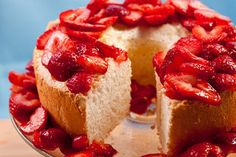 My Birthday falls on Passover: Orange Angel Food Cake with Strawberries