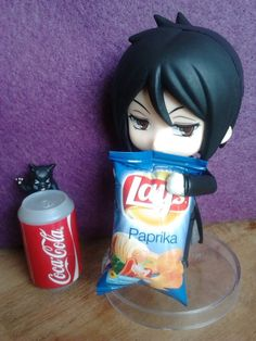 sebastien trys to get open the chip bag whiel the cat likes soda