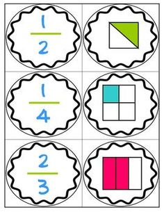 Here's a set of 24 cards for matching fractions to pictures showing part of region.