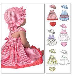 M4424, Infants 'vestidos, macacão, cuecas e chapéu
