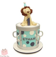 This adorable lion topper was created for Ethan's 1st birthday music themed birthday.  Happy Birthday Ethan!  #Cake #topper #lion #First #Birthday