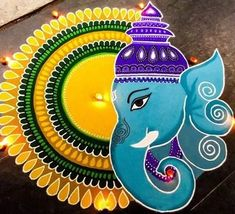 Check out latest ganesh rangoli designs and patterns which you can use to decorate your home this ganesh chaturthi. Rangoli Designs Simple Diwali, Rangoli Simple, Indian Rangoli Designs, Rangoli Designs Latest, Rangoli Designs Flower, Free Hand Rangoli Design, Rangoli Patterns, Small Rangoli Design, Rangoli Border Designs