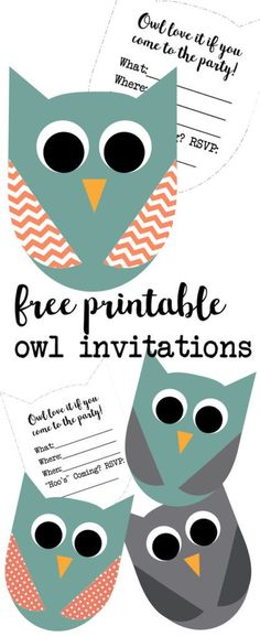 These cute owl invitations are great for an owl birthday invitation or an owl baby shower invitation. Free printable owl party invitations for an owl theme party. Birthday Party Invitations Free, Printable Baby Shower Invitations, Baby Shower Invites For Girl, Party Printables, Free Printables, Owl Printable, Printable Templates, Owl Parties, Owl Birthday Parties
