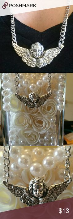 Winged Angel Necklace HANDMADE BY THE LITTLE BOUTIQUE  24 inch Chain 1mm Thick No Lobster Clasp One size fits most White Nickle Chain Tibetan Silver charm Jewelry Necklaces