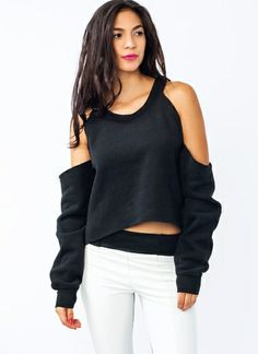 Easy DIY with an oversized sweatshirt I like it, but I think I'd cut it differently so that it was one shoulder, and midriff.